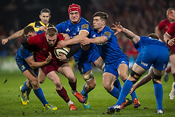 December 30, 2018 - Limerick, Ireland - Keith Earls of Munster tackled by Jordan Larmour, Rhys Ruddock and Tadhg Furlong of Leinster during the Guinness PRO14 match between Munster Rugby and Leinster Rugby at Thomond Park in Limerick, Ireland on December 29, 2018  (Credit Image: © Andrew Surma/NurPhoto via ZUMA Press)