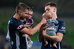 January 26, 2019 - Melbourne, VIC, U.S. - MELBOURNE, AUSTRALIA - JANUARY 26: Melbourne Victory midfielder Terry Antonis (8) and Melbourne Victory defender Storm Roux (2) with their kids after winning the match at the Hyundai A-League Round 16 soccer match between Melbourne Victory and Sydney FC on January 26, 2019, at AAMI Park in VIC, Australia. (Photo by Speed Media/Icon Sportswire) (Credit Image: © Speed Media/Icon SMI via ZUMA Press)
