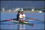 Sydney. AUSTRALIA. 2000 Summer Olympic Regatta, Penrith. NSW.  <br /> <br /> USA  LW2- Stroke, Sarah GARNER and Christine SMITH-COLLINS, <br /> <br /> [Mandatory Credit Peter SPURRIER/ Intersport Images] Sydney International Regatta Centre (SIRC) 2000 Olympic Rowing Regatta00085138.tif