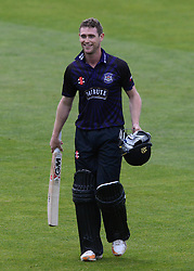Ian Cockbain (capt) of Gloucestershire smiles after the game as he achieves a career best 91 not out.  - Photo mandatory by-line: Dougie Allward/JMP - Mobile: 07966 386802 - 15/05/2015 - SPORT - Cricket - Bristol - Bristol County Ground - Gloucestershire County Cricket v Middlesex County Cricket - NatWest T20 Blast