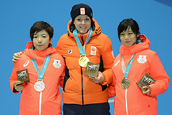 February 15, 2018 - Pyeongchang, South Korea - NAO KODARA of Japan (left) , JORIEN TER MORS of the Netherlands (center) and MIHO TAKAGI of Japan with their medals from the Ladies' 1000m speed skating event in the PyeongChang Olympic games. (Credit Image: © Christopher Levy via ZUMA Wire)