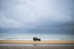 History enthusiasts on a military vehicle drive on Omaha Beach in Vieille sur Mer, France, 04 June 2019. World leaders are to attend memorial events in Normandy, France on 06 June 2019 to mark the 75th anniversary of the D-Day landings, which marked the beginning of the end of World War II in Europe. Photo by Eliot Blondet/ABACAPRESS.COM