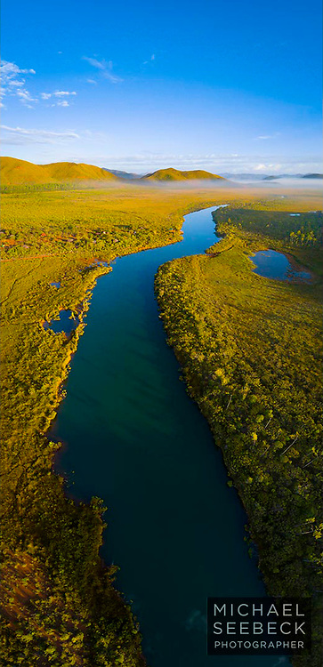 """An aerial view of the """"Riviere des Lacs"""" near Madeleine's Falls, in the southern part of the Grand Terre, New Caledonia.<br /> <br /> Limited Edition of 45"""