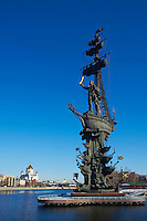 Russie, Moscou, enorme statue de Pierre-le-Grand sur la riviere Moscova // Russia, Moscow, Peter the Great Monument, Moscow River