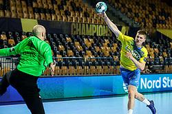 Tadej Mazej of Celje during handball match between RK Celje Pivovarna Lasko (SLO) and Paris Saint-Germain Handball (FRA) in Round of 16 of EHF Champions League 2020/21, on April 1, 2021 in Arena Zlatorog, Celje, Slovenia. Photo by Vid Ponikvar / Sportida