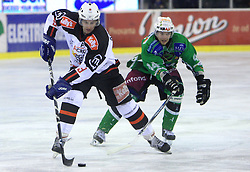 Tomaz Razingar and Andrej Tavzelj at 39th Round of EBEL League ice hockey match between HDD Tilia Olimpija and HK Acroni Jesenice, on December 30, 2008, in Arena Tivoli, Ljubljana, Slovenia. Tilia Olimpija won 4:3. (Photo by Vid Ponikvar / SportIda).