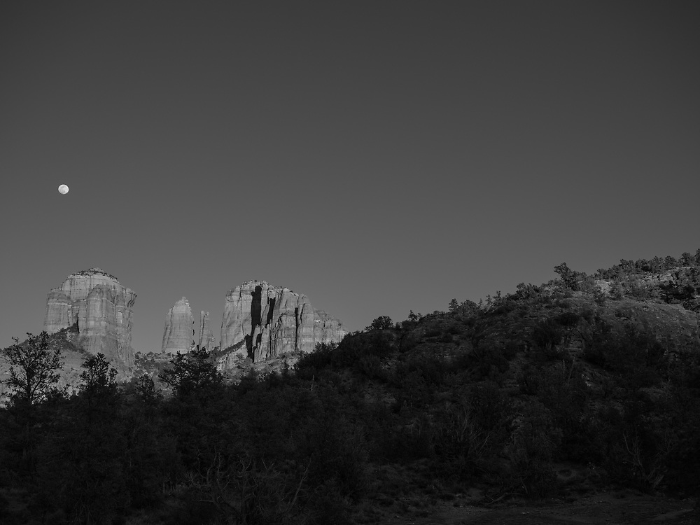Full moonrise over Cathedral Rock in Sedona, Arizona.