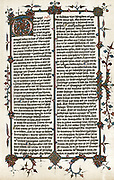 Page from Wycliffe's translation of the 'Bible' into English c1400.  'The bygynynge of ye gospel of Jesus Christ ye sone of God'  St Mark's gospel.  John Wycliffe (c1329-84) English religious reformer.  After Egerton manuscript.