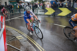 Roxanne Knetemann (NED) of FDJ Nouvelle Aquitaine Futuroscope Team leans into a corner on Trafalgar Square during the Prudential Ride London Classique - a 66 km road race, starting and finishing in London on July 29, 2017, in London, United Kingdom. (Photo by Balint Hamvas/Velofocus.com)