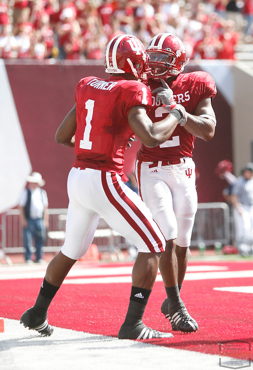 27 September 2008: Indiana wide receiver Terrance Turner (1) and Indiana running back Marcus Thigpen (2) as the Indiana Hoosiers played the Michigan State Spartans in a college football game in Bloomington, Ind....
