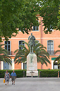 Statue of Marechal General Joseph Jacques Cesaire Joffre on horse. Rivesaltes town, Roussillon, France