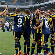 Fenerbahce's Caner Erkin celebrate his goal with team mate during their Turkish superleague soccer match Fenerbahce between Balikesirspor at the Sukru Saracaoglu stadium in Istanbul Turkey on Saturday 02 May 2015. Photo by TURKPIX