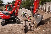 Construction crews at work on the Carnuel Water Systems Improvement Project on August 27, 2010. The $3.4 million project is supported by $2 million from the American Recovery and Reinvestment Act and will provide clean water to hundreds of Bernalillo County residents.