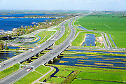 Nederland, Utrecht, Gemeente Abcoude, 09-04-2014;  Verbrede A2 richting Amsterdam, afslag Hilversum en Vinkeveen<br /> Motorway A2.<br /> luchtfoto (toeslag op standard tarieven);<br /> aerial photo (additional fee required);<br /> copyright foto/photo Siebe Swart