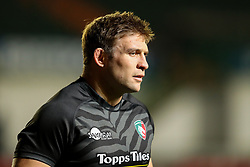 Tom Youngs, captain of Leicester Tigers, warms up before making his 200th appearance for the club  - Mandatory by-line: Nick Browning/JMP - 29/01/2021 - RUGBY - Mattioli Woods Welford Road - Leicester, England - Leicester Tigers v Sale Sharks - Gallagher Premiership Rugby