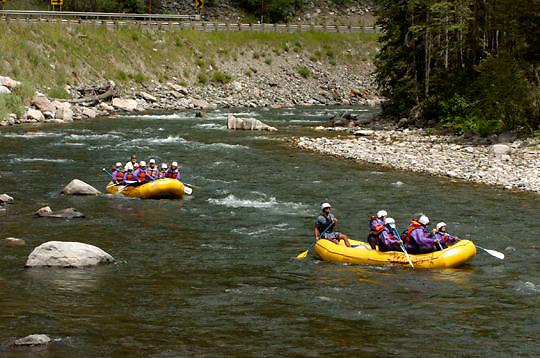 Rafting the Gallatin River near Bozeman, Montana. Summer.