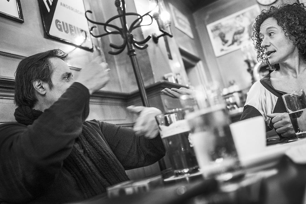 Netherlands. Amsterdam, 15-09-2015. Photo: Patrick Post.  Dubbelinterview door Ine Roox met schrijver Hafid Bouazza en politica Yasmine Kherbache.