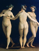The Three Graces'. Il Poppi (1544-1597) Italian painter. In classical mythology, daughters of Jove, Euphrosyne, Aglaila and Thalia, goddesses  the embodiment of beauty and charm.  Nude Female Muse