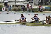 Eton Dorney, Windsor, Great Britain,<br /> <br /> 2012 London Olympic Regatta, Dorney Lake. Eton Rowing Centre, Berkshire.  Dorney Lake.   <br /> <br /> Final, Men's Pair GBR M2- Bow George NASH and Will SATCH and NZL M2-, Bow Eric MURRAY and Hamish BOND<br /> <br />  11:56:41  {DOW]  {DATE}    [Mandatory Credit: Peter Spurrier/Intersport Images]