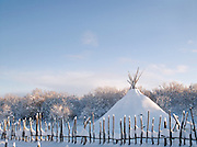 A Sami lavvu, a temporary tent, in the landscapes of Kirkeness, Finnmark region, northern Norway