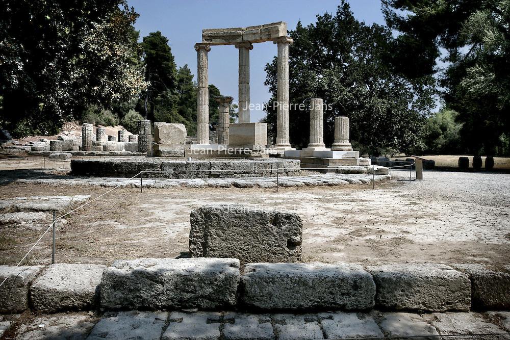 Griekenland.Peloponnesos.Oud Olympia.29 augustus 2007.. Archeologische overblijfselen van de  oude stad Olympia uit de Griekse oudheid.