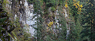 The walls of the Coquihalla Gorge at Coquihalla Canyon Provincial Park in Hope, British Columbia, Canada.