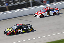 August 12, 2018 - Brooklyn, Michigan, United States of America - Martin Truex, Jr (78) and Paul Menard (21) battle for position during the Consumers Energy 400 at Michigan International Speedway in Brooklyn, Michigan. (Credit Image: © Chris Owens Asp Inc/ASP via ZUMA Wire)