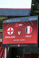 Scoreboard view during the UEFA European Under 17 Championship 2018 match between England and Italy at the Banks's Stadium, Walsall, England on 7 May 2018. Picture by Mick Haynes.