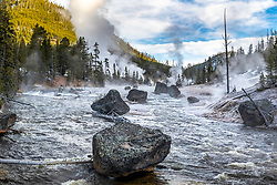 A pretty morning on the Gibbon River with thermal features adding cool weirdness to the landscape of Yellowstone National Park