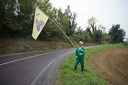 Local fan puts up his flags ahead of the race arrival at Gran Premio Bruno Beghelli 2017 - a 80 km road race, in Monteveglio, Italy on October 1, 2017. (Photo by Sean Robinson/Velofocus.com)