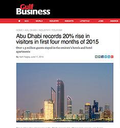 Gulf Business; Night skyline of Abu Dhabi UAE