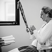 August 24, 2016, New Haven, Connecticut: <br /> Petra Kvitova of the Czech Republic grips her racquets in the player lounge during Day 6 of the 2016 Connecticut Open at the Yale University Tennis Center on Wednesday, August  24, 2016 in New Haven, Connecticut. <br /> (Photo by Billie Weiss/Connecticut Open)