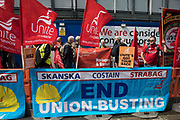 Members of the Unite trade union protest outside the Euston construction site for the HS2 high-speed rail link regarding trade union access to construction workers building tunnel sections for the project on 6th August 2021 in London, United Kingdom. Unite claims that HS2s joint venture contractor SCS, formed by Skanska, Costain and Strabag, has been hindering meaningful trade union access to HS2 construction workers in contravention of the HS2 agreement.
