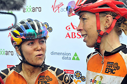 WORCESTER, SOUTH AFRICA - MARCH 21: Stage winners of the Elite Women Kate Courtney and Annika Langvad at the finish of stage three's 122km from Robertson to Worcester on March 21, 2018 in Cape Town, South Africa. Mountain bikers from across South Africa and internationally gather to compete in the 2018 ABSA Cape Epic, racing 8 days and 658km across the Western Cape with an accumulated 13 530m of climbing ascent, often referred to as the 'untamed race' the Cape Epic is said to be the toughest mountain bike event in the world. (Photo by Dino Lloyd)