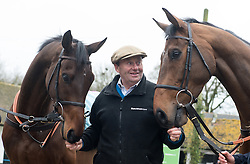 Trainer Nicky Henderson with Top Notch (left) and Whisper (right) ahead of the Cheltenham Festival in March, during a stable visit to Nicky Henderson's Seven Barrows Stables in Lambourn.
