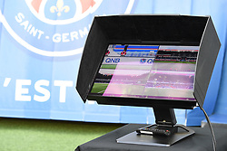 A goal line technology monitor is seen during the Ligue 1 PSG v Caen football match at the Parc des Princes Stadium in Paris, France on August 12, 2018. PSG won 3-0. Photo by Christian Liewig/ABACAPRESS.COM