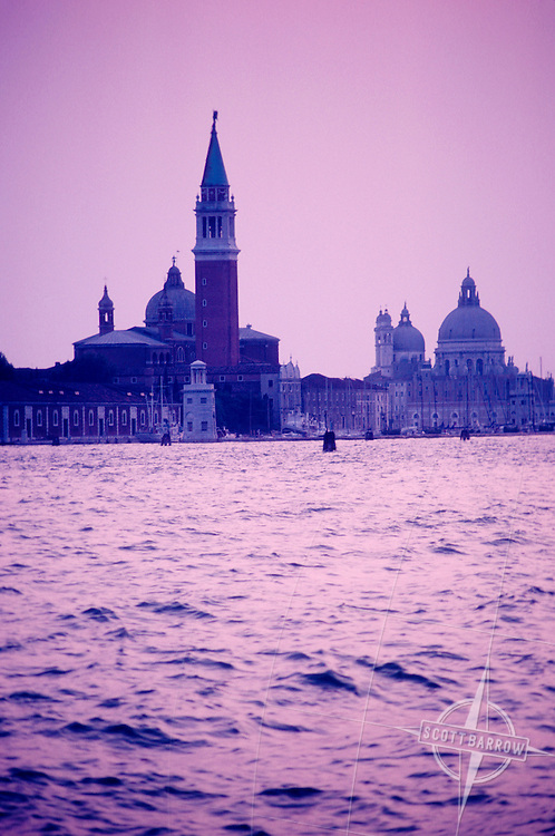 View towards San Giorgro Maggiore at sunset, sunrise in Venice, Italy.