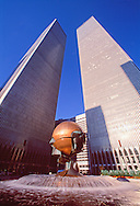 The Sphere by Fritz Koenig, sculpture in World Trade Plaza, destroyed during the September 11 attacks, now in Battery Park, Austin Tobin Plaza, Twin Towers, NYC, NY