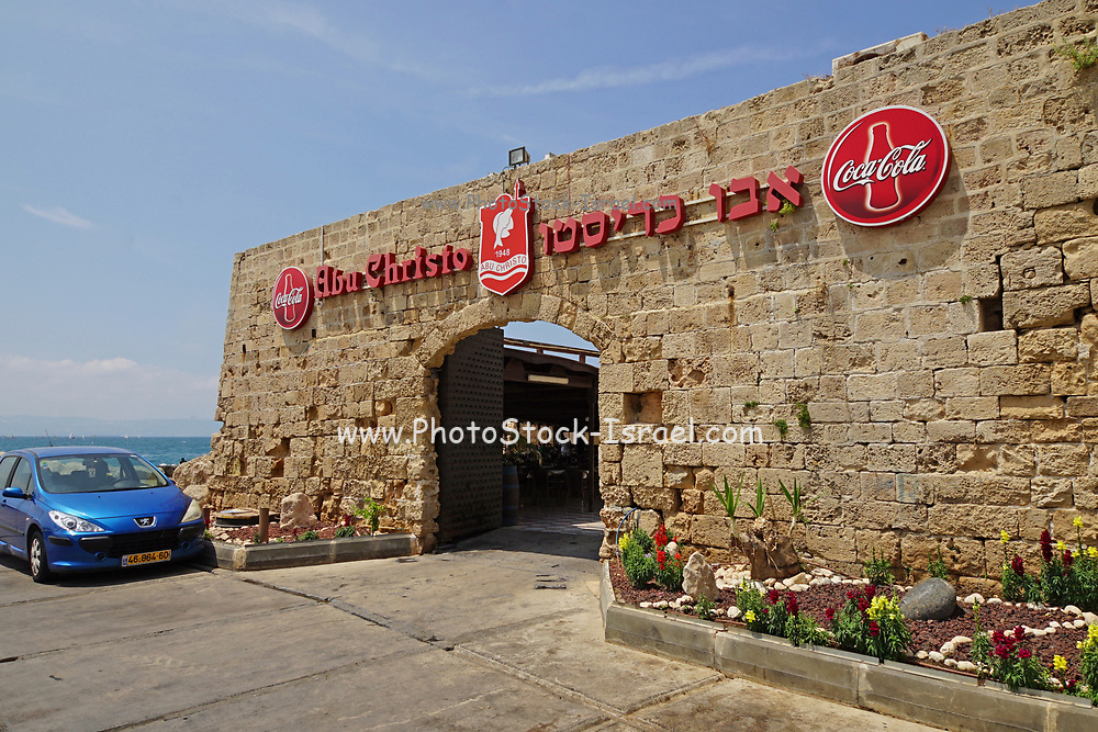 Sea front dining in a Restaurant in the old town of akko or Acre, a city in northern Israel with a history spanning centuries. It also played a major role in the holy land crusades