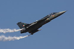 An Indian Air Force's Tejas Light Fighter Aircraft (LCA) flies during the inauguration of the Aero India 2015 in Air Force Station Yelahanka of Bangalore, India, Feb. 18, 2015. The biennial air show this year attracted dealers from 49 countries, showcasing their aero-related products in military and civilian fields. EXPA Pictures © 2015, PhotoCredit: EXPA/ Photoshot/ Zheng Huansong<br /> <br /> *****ATTENTION - for AUT, SLO, CRO, SRB, BIH, MAZ only*****