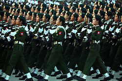March 27, 2019 - Nay Pyi Taw, Myanmar - Female soldiers march in a formation during a parade to mark the 74th Armed Forces Day in Nay Pyi Taw, Myanmar. (Credit Image: © U Aung/Xinhua via ZUMA Wire)