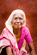 India, Jodhpur. Portrait of a Rajasthani woman who lives in the old town in Jodhpur.
