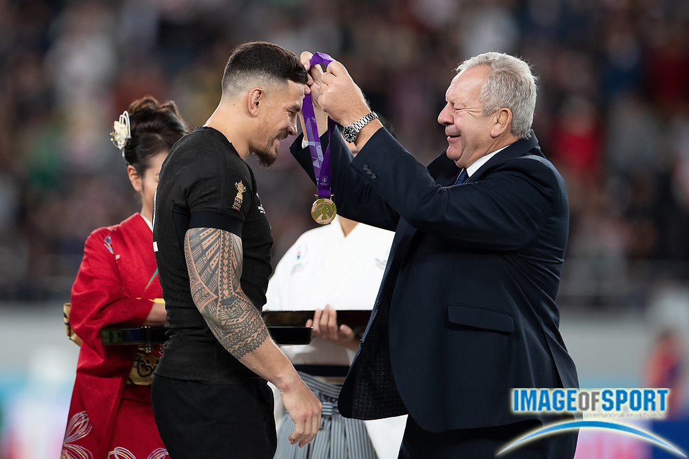 Sonny Bill Williams of New Zealand receives the bronze medal during the Rugby World Cup bronze final match between New Zealand and Wales,  Friday, Nov, 1, 2019, in Tokyo. New Zealand defeated Wales 40-17.( Flor Tan Jun/Espa-Images-Image of Sport)