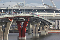 May 7, 2017 - St. Petersburg, Russia - Of The Russian Federation. Saint-Petersburg. Test match. The FIFA Confederations Cup. A test run of the Yacht bridge in St. Petersburg. Yacht the bridge. A pedestrian bridge. The launch of the audience before the match ''Zenit'' - ''Terek' (Credit Image: © Russian Look via ZUMA Wire)