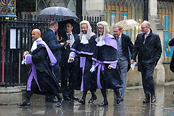 © Licensed to London News Pictures. 01/10/2019. London, UK. Circuit Judges arrive at Westminster Abbey for the annual service to mark the start of the legal year. The start of the new legal year is marked with a traditional religious service in Westminster Abbey followed by a procession to The Houses of Parliament where the Lord Chancellor hosts a reception.  Photo credit: Dinendra Haria/LNP