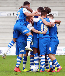 All 10 outfield Peterborough United players join together to celebrate the third goal - Photo mandatory by-line: Joe Dent/JMP - Mobile: 07966 386802 06/09/2014 - SPORT - FOOTBALL - Peterborough - London Road Stadium - Peterborough United v Port Vale - Sky Bet League One