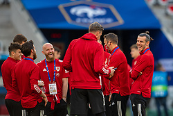 NICE, FRANCE - Wednesday, June 2, 2021: Wales' captain Gareth Bale (R) before an international friendly match between France and Wales at the Stade Allianz Riviera ahead of the UEFA Euro 2020 tournament. (Pic by Simone Arveda/Propaganda)