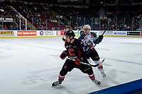 KELOWNA, CANADA - FEBRUARY 8:   Kyle Topping #24 of the Kelowna Rockets back checks Matéj Toman #15 of the Prince George Cougars during second period on February 8, 2019 at Prospera Place in Kelowna, British Columbia, Canada.  (Photo by Marissa Baecker/Shoot the Breeze)