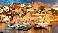The historic port of Hydra, Greek Saronic Islands. .<br /> <br /> Visit our GREEK HISTORIC PLACES PHOTO COLLECTIONS for more photos to download or buy as wall art prints https://funkystock.photoshelter.com/gallery-collection/Pictures-Images-of-Greece-Photos-of-Greek-Historic-Landmark-Sites/C0000w6e8OkknEb8