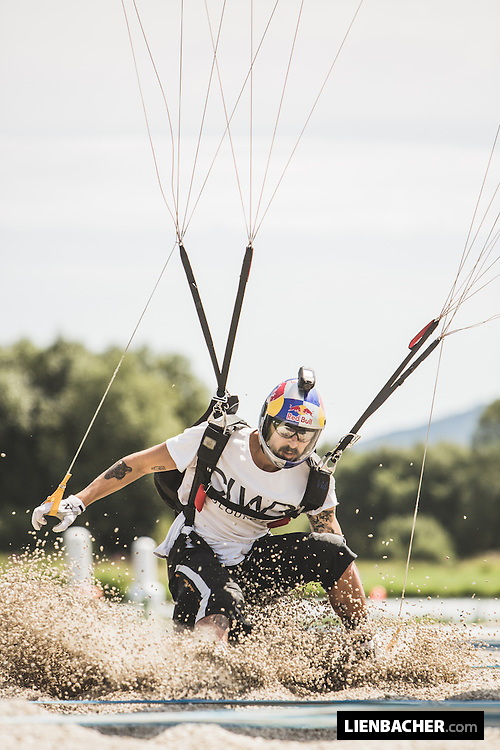 Marco Waltenspiel of the Red Bull Skydive Team lands during Austrian Canopy Piloting Nationals at Skydive Pink Klatovy